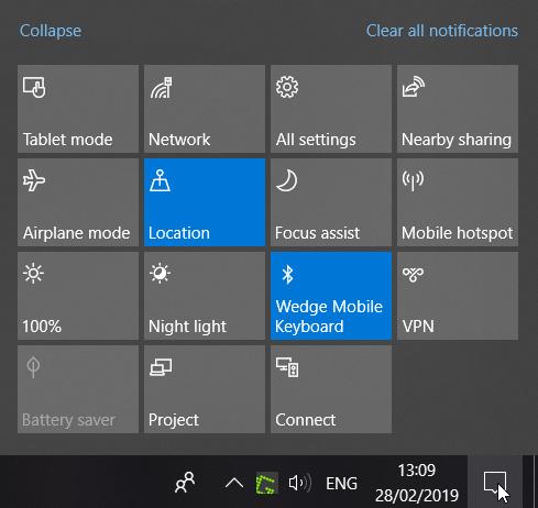 لوحة عمل Windows 10