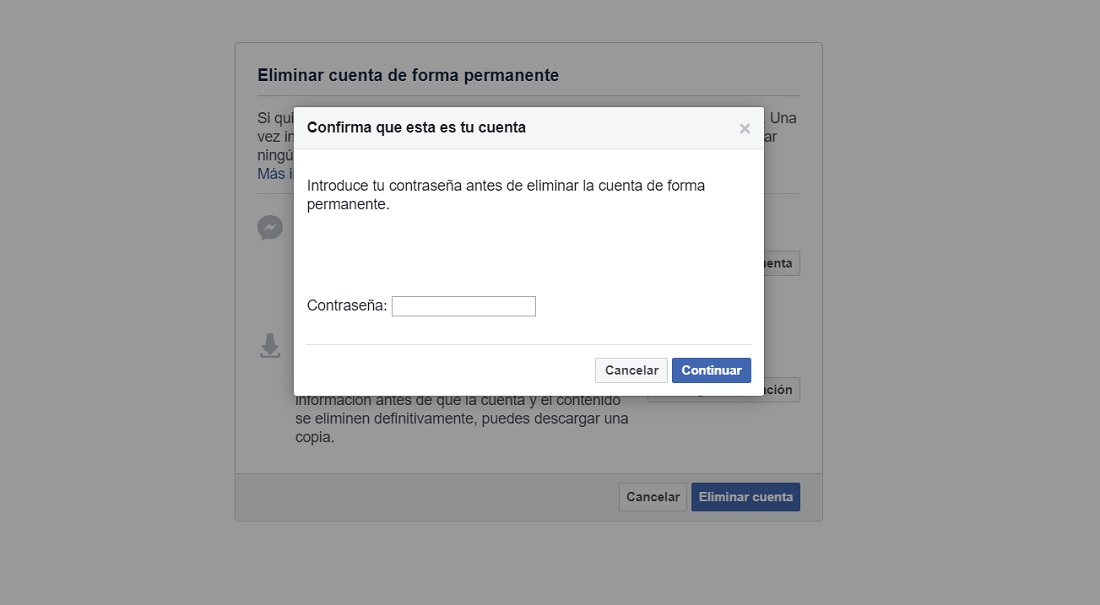 إزالة حساب Facebook