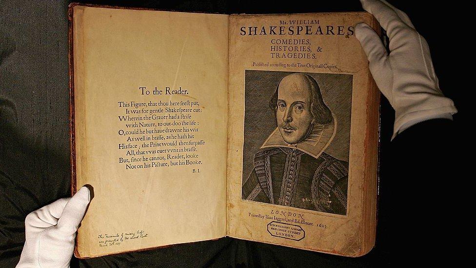نسخة من الورقة الأولى لوليام شكسبير.